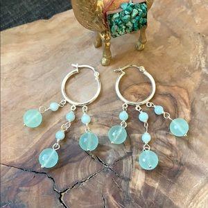 Anthropologie Sterling Silver Stone Earrings